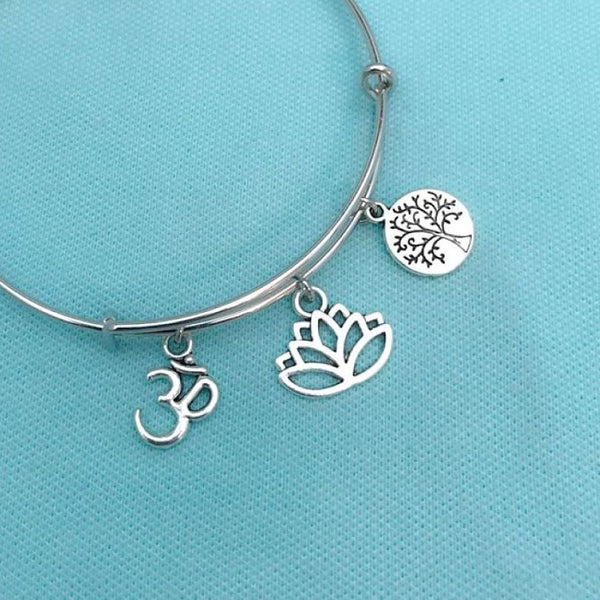 ZEN or YOGA;  Tree of Life, Lotus, Om Silver Charms Bangle.