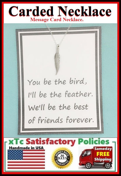 Friends Forever; Handcrafted Silver Feather Charm Necklace.