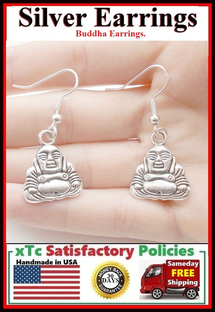 Gorgeous SITTING BUDDHA Silver Dangle Earrings.