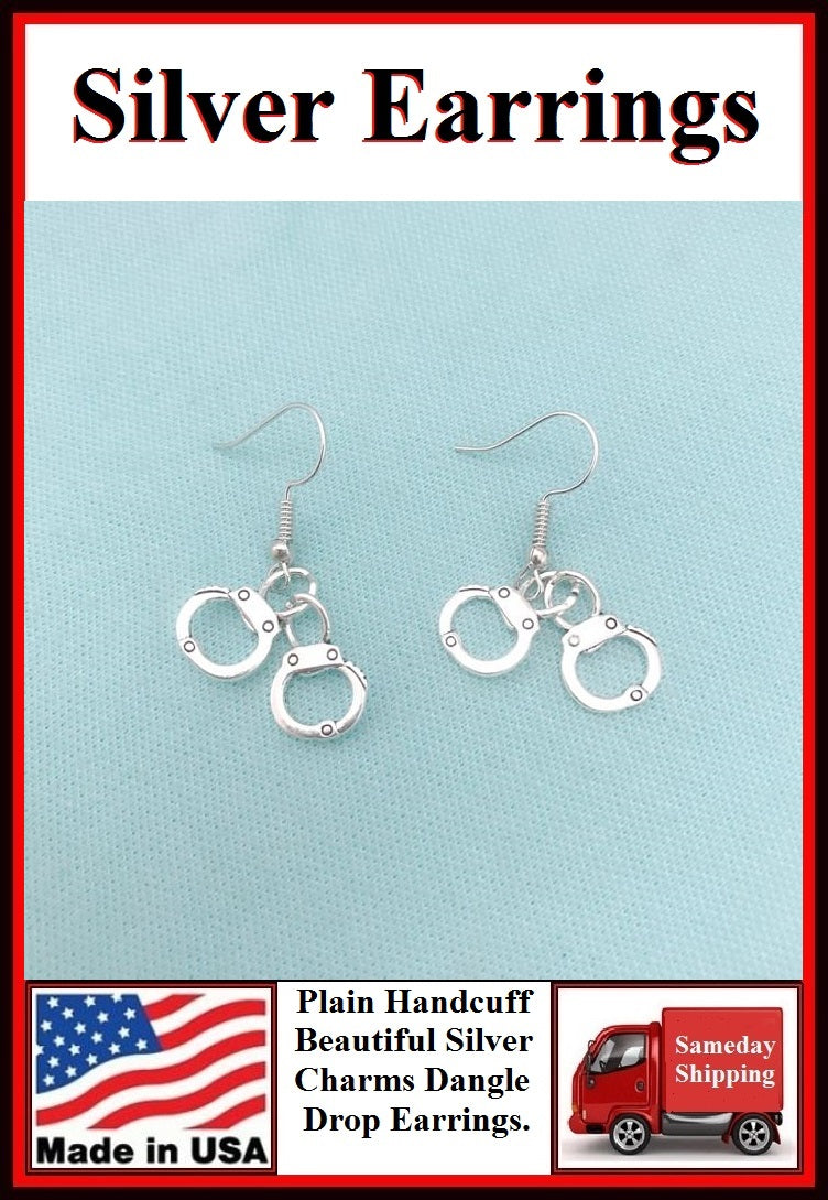 Plain Police Handcuff Charm Silver Dangle Earrings.