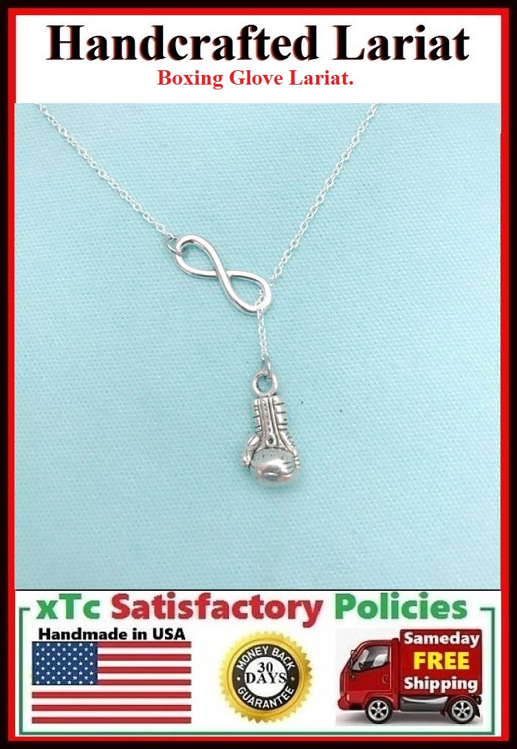 Boxing Glove Necklace Lariat Style. Perfect Gift for Fighter.