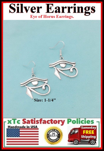 Beautiful Egyptian EYE Of HORUS Silver Dangle Earrings.