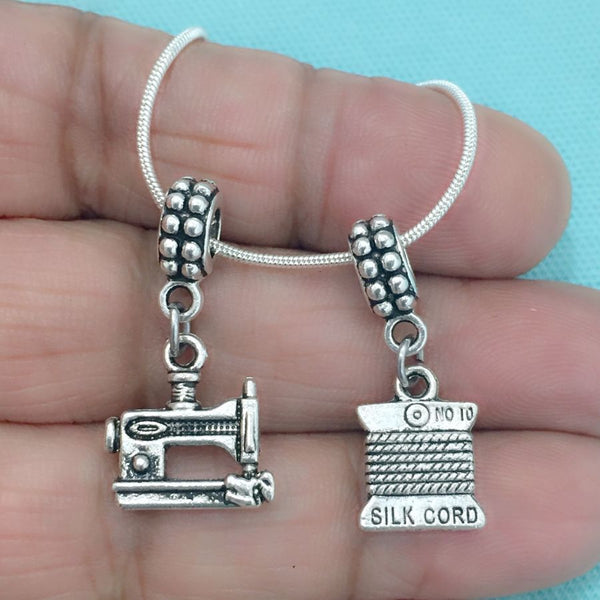 SEAMSTRESS : Sewing Machine & Thread Spool Charms Fit Beaded Bracelet