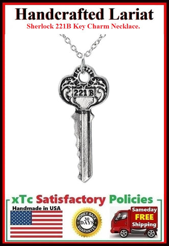 Sherlock 221B Key Charm Silver Necklaces.