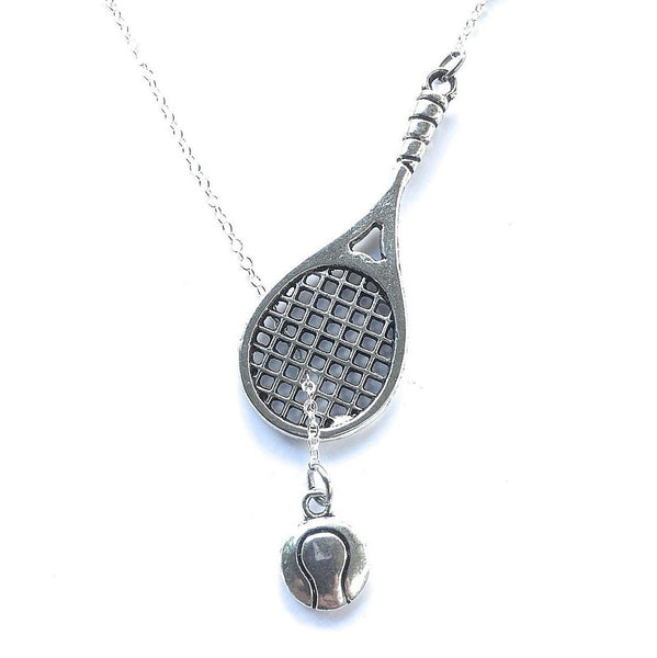 Tennis Racket and Tennis Ball Lariat Style Y Necklace.