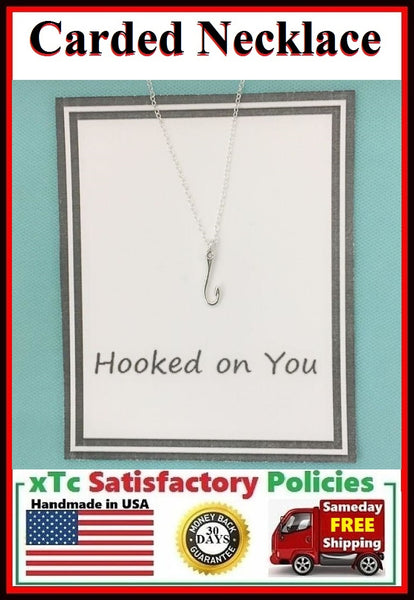 """HOOKED ON YOU"" Surprise Lover Gift, FISH HOOK Necklace."