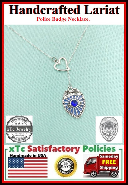 I Love Police Silver Lariat Necklace.