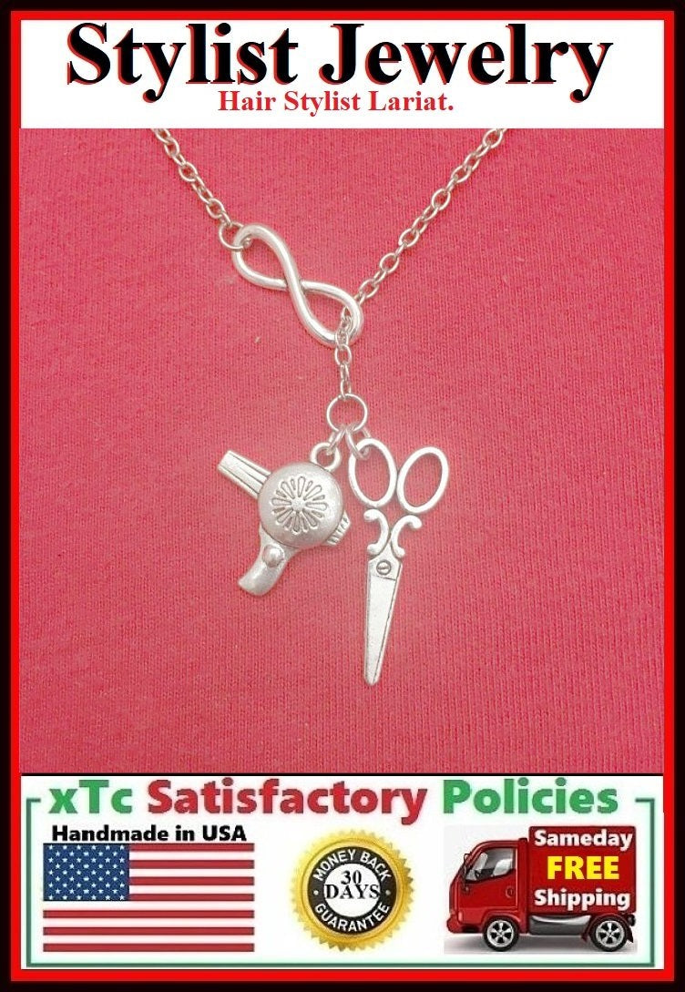 Hair Stylist Handcraft Scissors & Dryer Charms Lariat Necklace.
