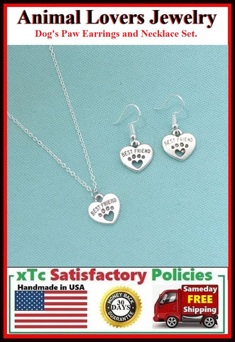 Dog's Paw Print Heart Charm Silver Necklace with Earrings Set.