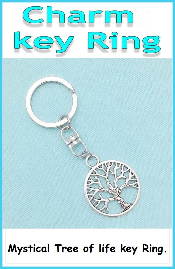 Mystical Tree of Life Charm Non-Tangle Key Ring.
