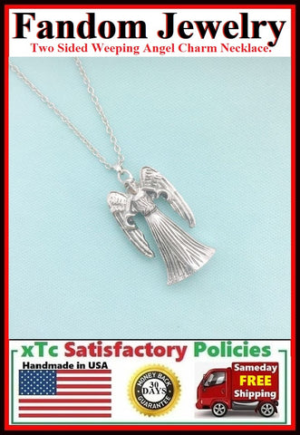 DR. Who Weeping Angel Charm Silver Necklace.