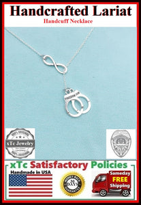 Infinity and HANDCUFF Silver Lariat Necklace.