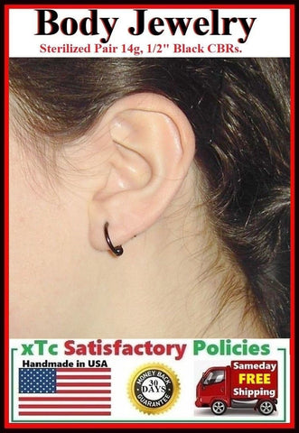 (2 Pcs Lot) Sterilized BLACK 14g 12mm, 5mm balls Ear Lobe Piercing Rings.