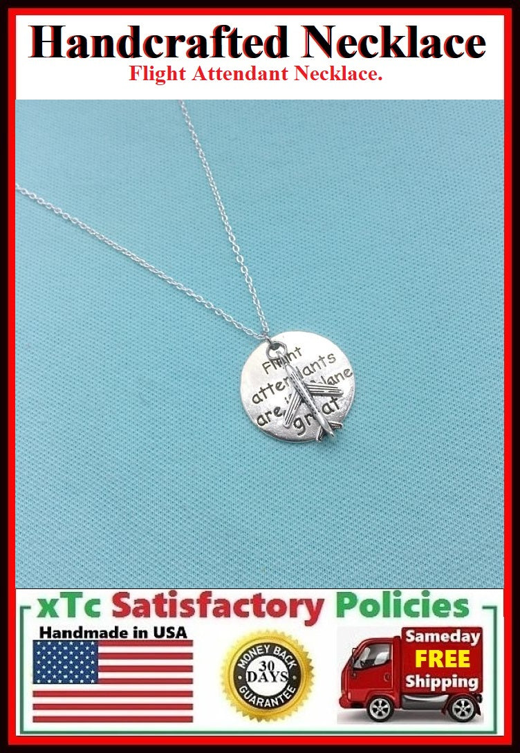 Handcrafted Flight Attendant Charms Silver Necklace.