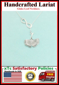 Beautiful GINKO LEAF Necklace Lariat Style.