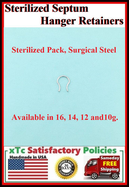 HANGER TYPES 16-10g Surgical Steel Septum Retainers.