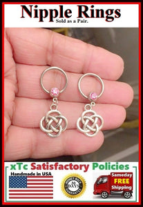 "PAIR Sterilized Surgical Steel 1/2"" Nipple Rings with Celtic Knots."