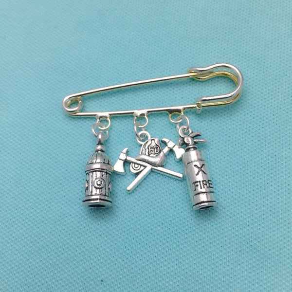 Firefighter Theme Silver 3 Charms easy on/off Brooch.