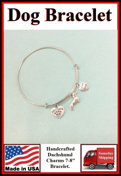 I Love My Dachshund Dog Charms Expendable Bracelet.