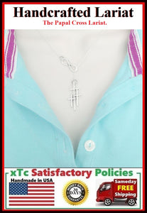 Papal or Triple Cross & Infinity Handcrafted Necklace Lariat Style.