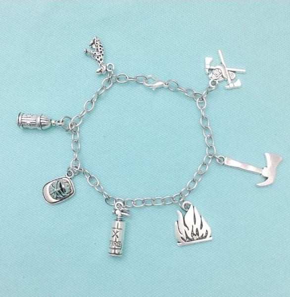 Handcrafted Fireman's Charms Steel Chain Bracelet.