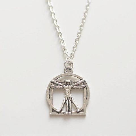 Vitruvian Man by Leonardo De Vinci Charm Silver Necklace.