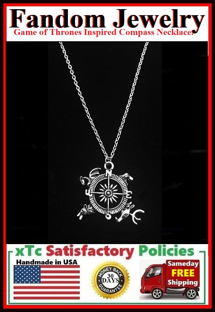 Game of Thrones inspired Compass Silver Charm Necklace.