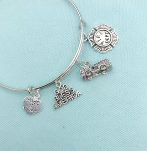 Beautiful Handmade Firefighter Charms Bangle.