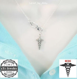 Stethoscope and Caduceus Silver Lariat Necklace.