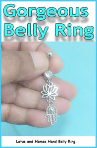 Sterilized HAMSA HAND & Lotus Charms Surgical Steel Belly Ring