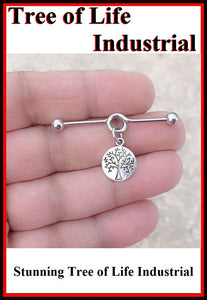 Stunning Tree of Life Charm Surgical Steel Industrial.