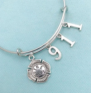 Handcrafted 911 Firefighters Charms Bangle.
