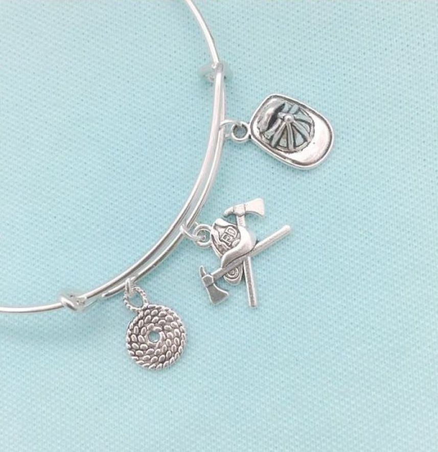 Handcrafted Firefighter Charms Expendable Bangle.