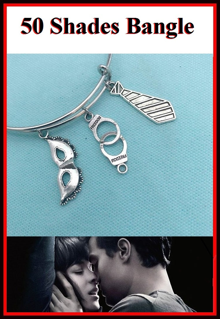 50 Shades of Grey Theme Charms Bangle Bracelet.