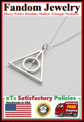 Harry Potter Deathly Hallow Triangle Silver Charm Necklace.