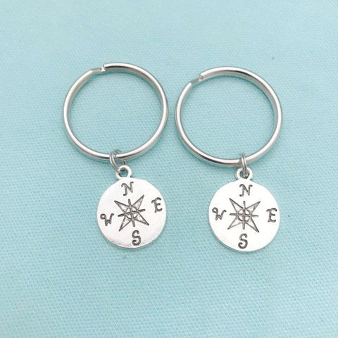 2 Best Friends, Compass Key Chains. Long Distance, Moving Away Gift,
