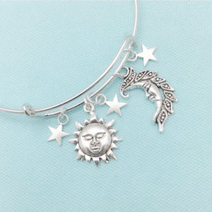 Celestial Sun, Moon & Stars Silver Charms Bangle Bracelet.