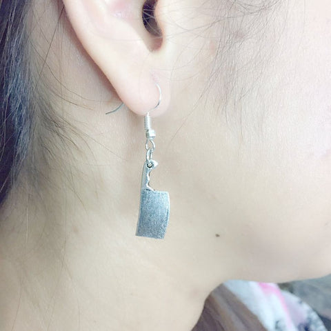 Cook, Chef Meat Cleaver Silver Earrings.