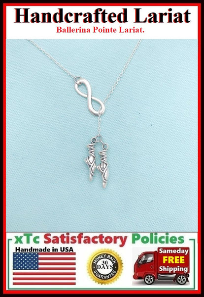 Ballerina's Pointe Silver Charm Lariat Necklace.