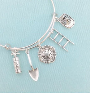 Handcrafted Firefighter's Charms Unique Bangle.