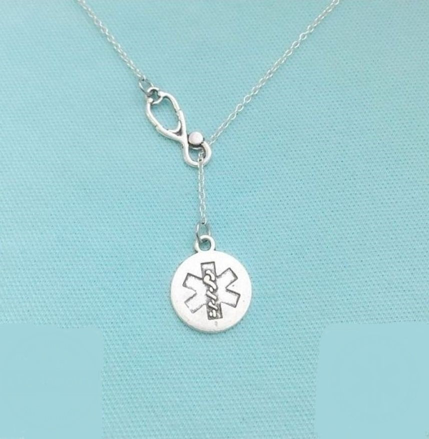 Stethoscope and Star of Life Silver Lariat Necklace.