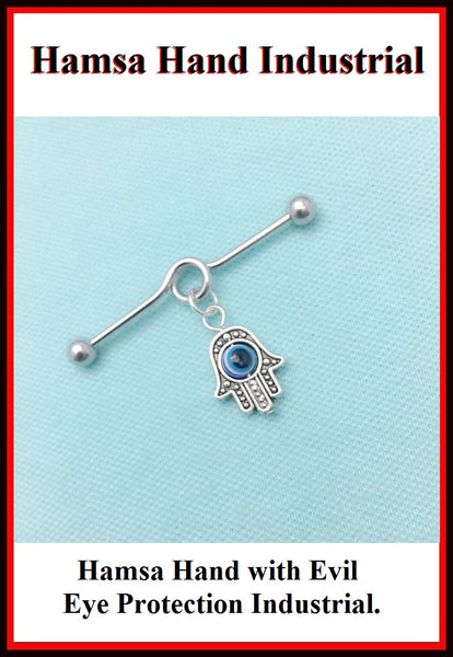 Hamsa Hand w Evil Eye Protection Charm Surgical Steel Industrial.