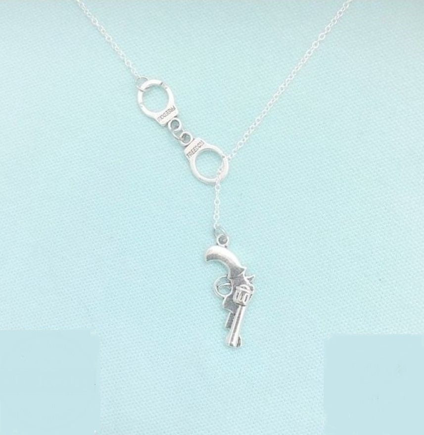 Police family Silver Lariat Necklace.