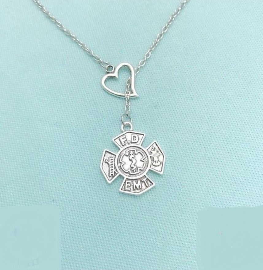 I adore my FIREFIGHTERS/EMT Silver Lariat Necklace