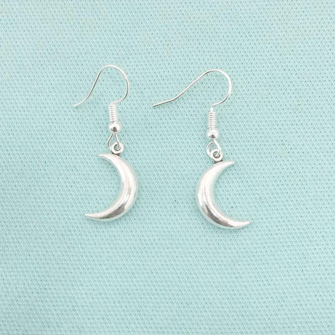 Beautiful Reversible Crescent Moon Silver Earrings.