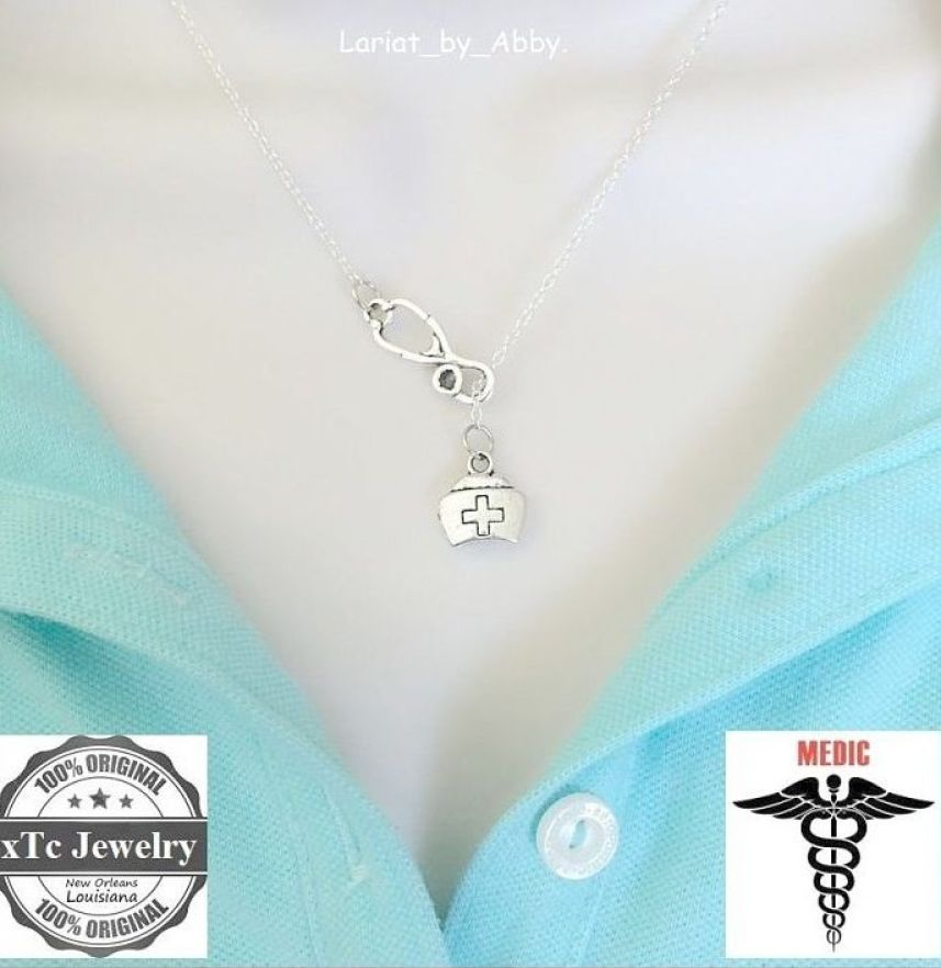 Stethoscope and Nurse Hat Silver Lariat Necklace.