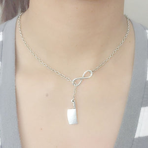 Infinity and Meat Cleaver Necklace Lariat Style. Perfect for the Cook, Chef.