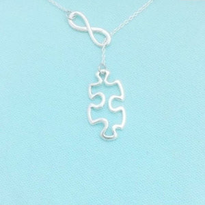 AUTISM Awareness Hallow Silver Puzzle Piece & Infinity Charm Lariat Necklace.