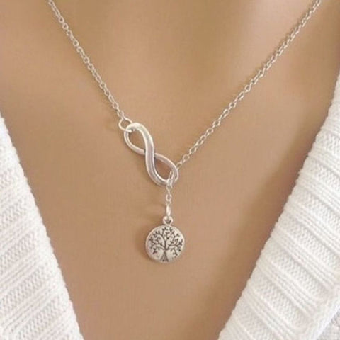 Handcrafted Small Tree of Life with Infinity Charm Necklace Lariat Style.