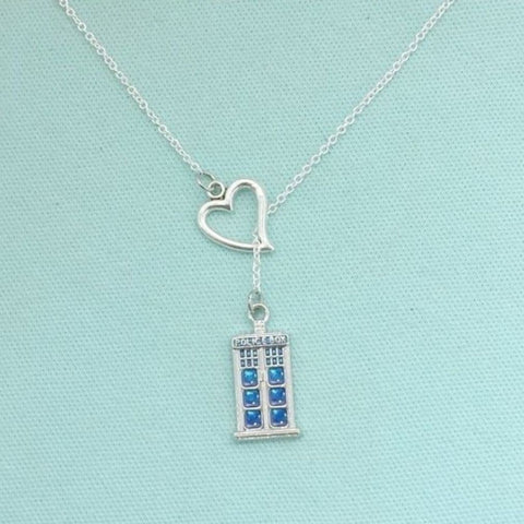 I Love Tardis, DR. Who Phone Box Necklace Lariat Style.